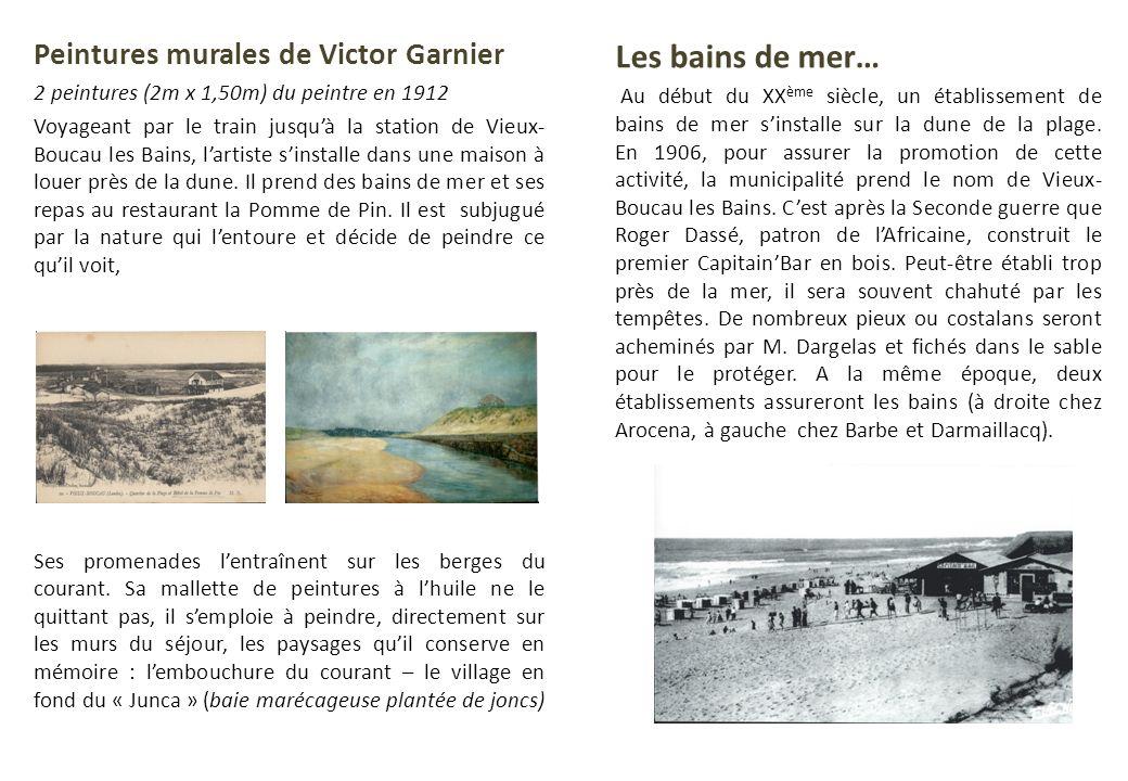 Peintures murales de Victor Garnier 2 peintures (2m x 1,50m) du peintre en 1912 Voyageant par le train jusquà la station de Vieux- Boucau les Bains, l