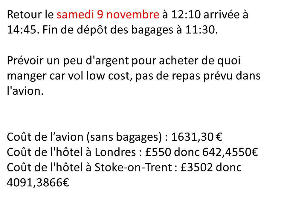 Retour le samedi 9 novembre à 12:10 arrivée à 14:45. Fin de dépôt des bagages à 11:30. Prévoir un peu d'argent pour acheter de quoi manger car vol low