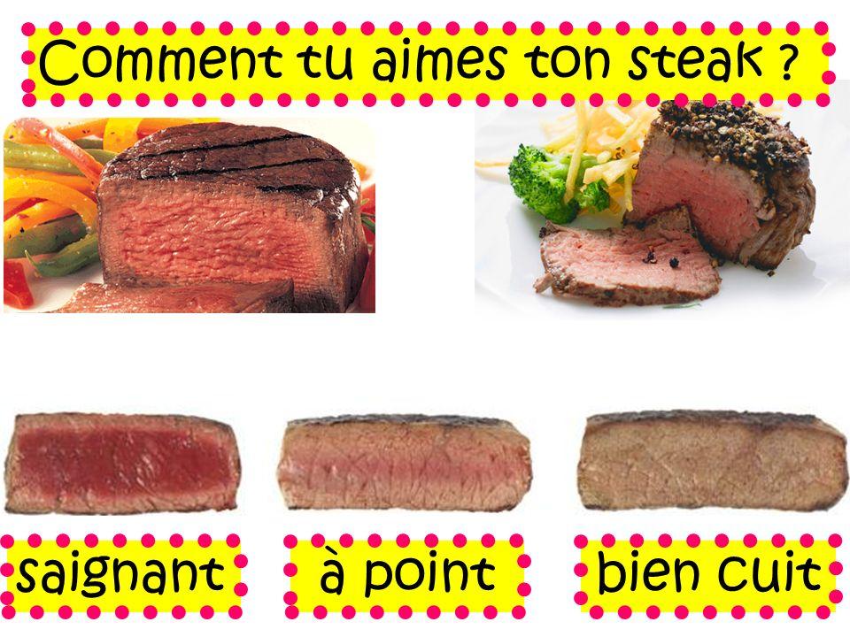 Comment tu aimes ton steak ? saignantà pointbien cuit