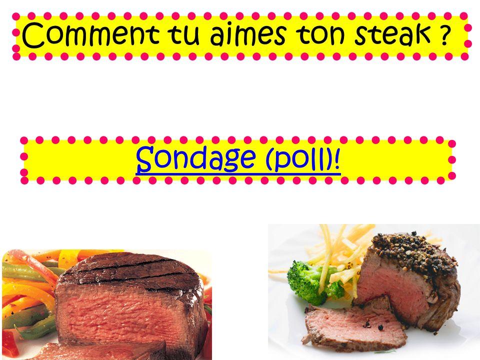 Comment tu aimes ton steak ? Sondage (poll)!