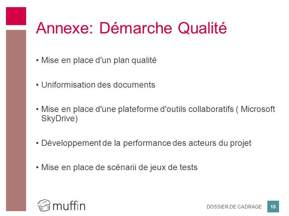 15 DOSSIER DE CADRAGE Mise en place d'un plan qualité Uniformisation des documents Mise en place d'une plateforme d'outils collaboratifs ( Microsoft S