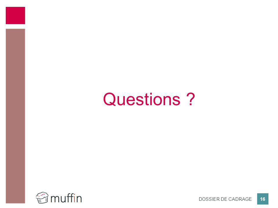 16 DOSSIER DE CADRAGE Questions ?