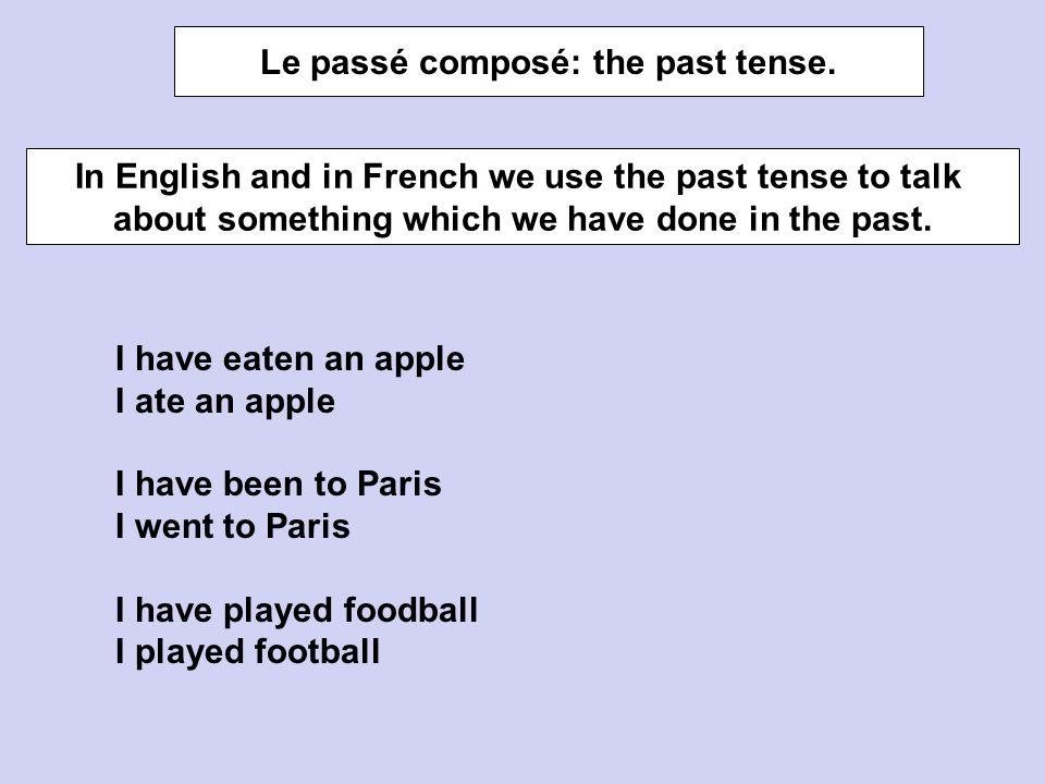Le passé composé: the past tense.