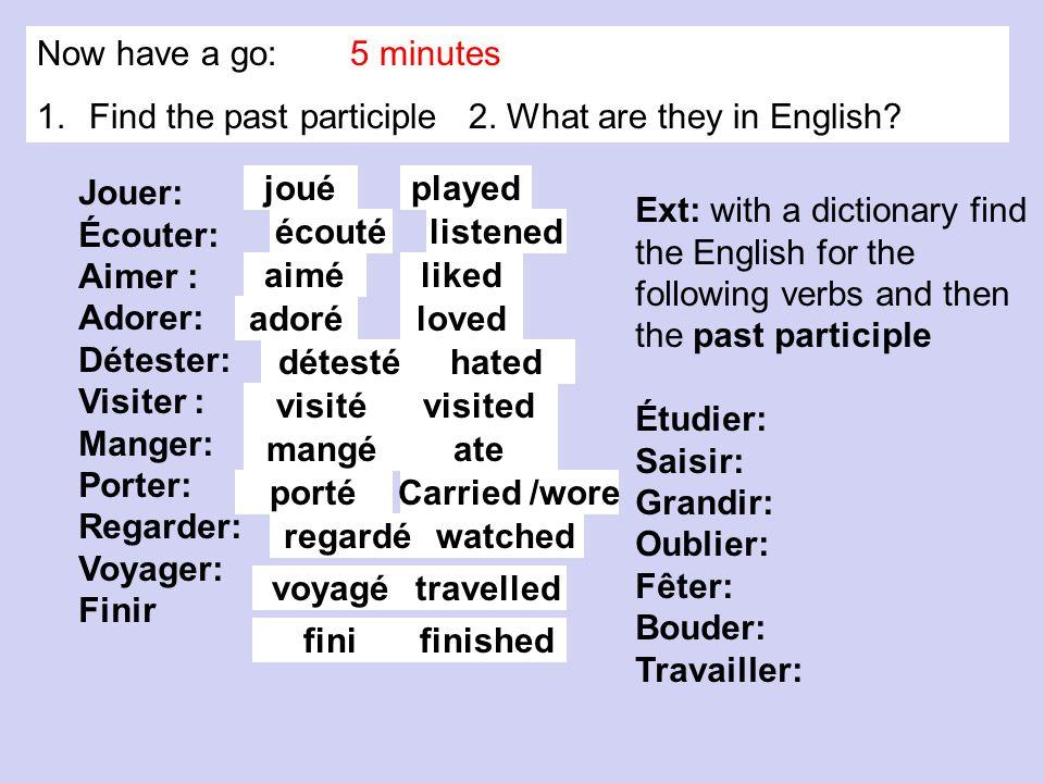 Jouer: Écouter: Aimer : Adorer: Détester: Visiter : Manger: Porter: Regarder: Voyager: Finir joué aimé adoré détesté visité mangé porté regardé voyagé écouté fini Ext: with a dictionary find the English for the following verbs and then the past participle Étudier: Saisir: Grandir: Oublier: Fêter: Bouder: Travailler: Now have a go: 5 minutes 1.Find the past participle 2.