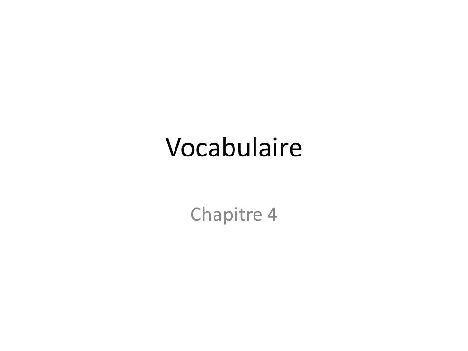 Vocabulaire Chapitre 4