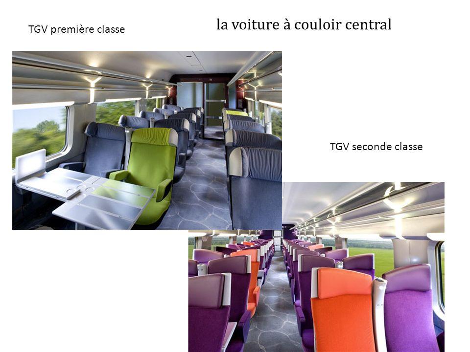 la voiture à couloir central TGV première classe TGV seconde classe