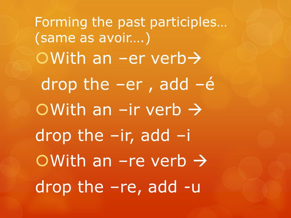 Forming the past participles… (same as avoir….) With an –er verb drop the –er, add –é With an –ir verb drop the –ir, add –i With an –re verb drop the