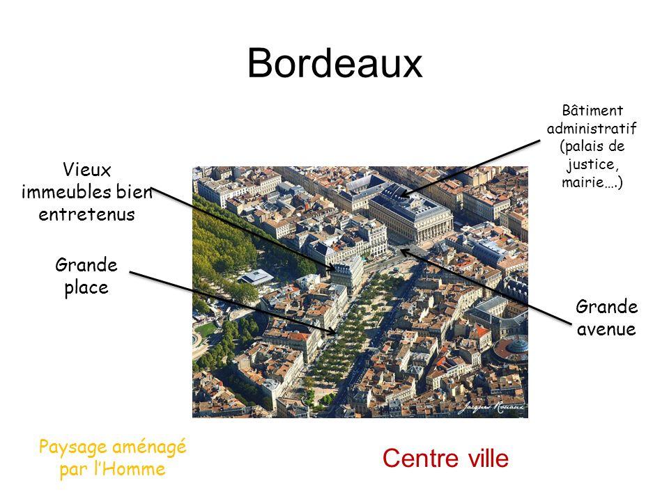 Bordeaux Grande avenue Grande place Bâtiment administratif (palais de justice, mairie….) Vieux immeubles bien entretenus Paysage aménagé par lHomme Ce