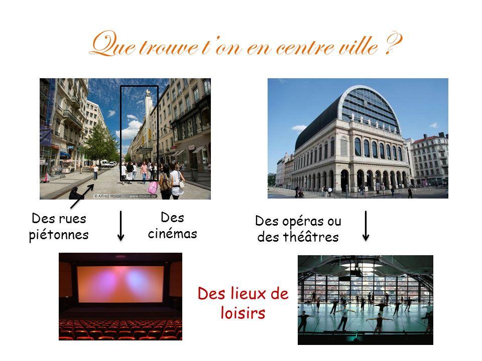 Que trouve ton en centre ville ? Des cinémas Des opéras ou des théâtres Des rues piétonnes Des lieux de loisirs