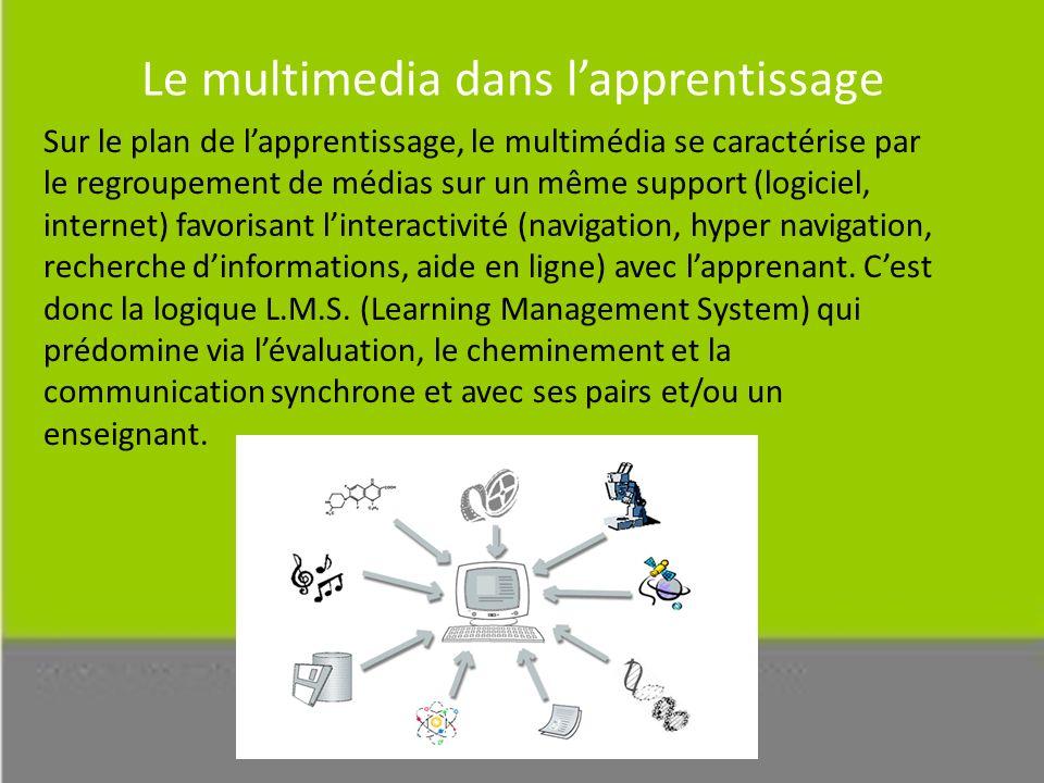 Le multimedia dans lapprentissage Sur le plan de lapprentissage, le multimédia se caractérise par le regroupement de médias sur un même support (logiciel, internet) favorisant linteractivité (navigation, hyper navigation, recherche dinformations, aide en ligne) avec lapprenant.