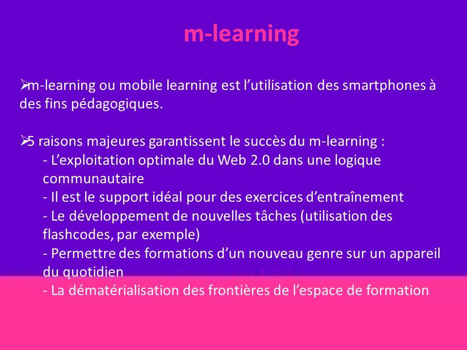 m-learning m-learning ou mobile learning est lutilisation des smartphones à des fins pédagogiques. 5 raisons majeures garantissent le succès du m-lear