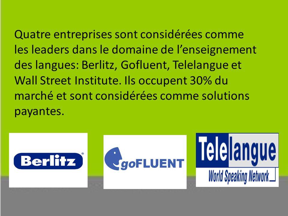 Quatre entreprises sont considérées comme les leaders dans le domaine de lenseignement des langues: Berlitz, Gofluent, Telelangue et Wall Street Institute.