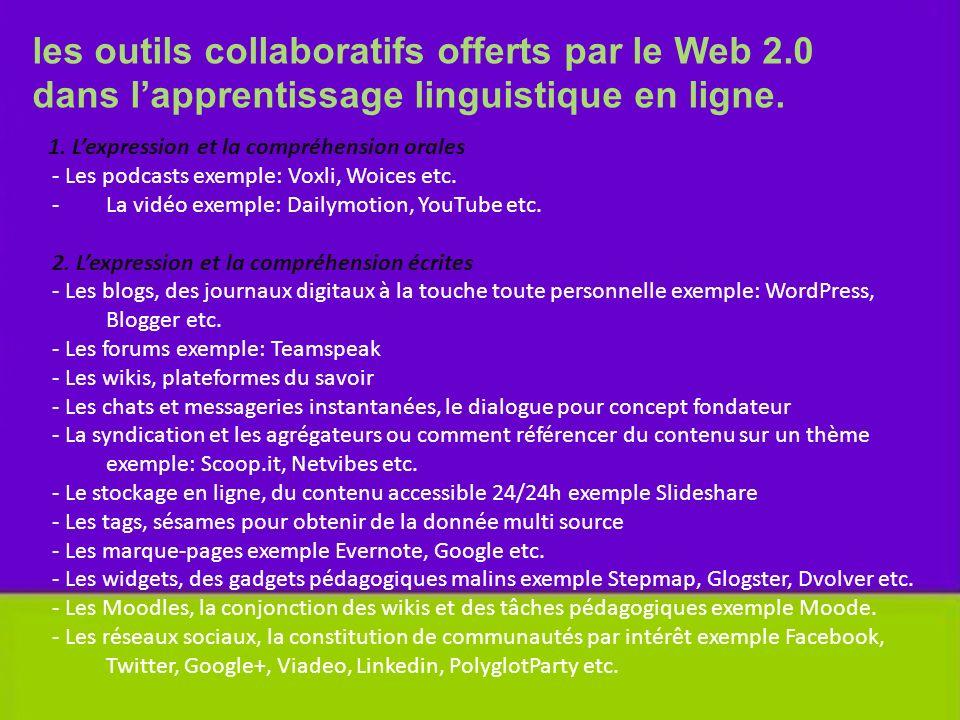 les outils collaboratifs offerts par le Web 2.0 dans lapprentissage linguistique en ligne. 1. Lexpression et la compréhension orales - Les podcasts ex