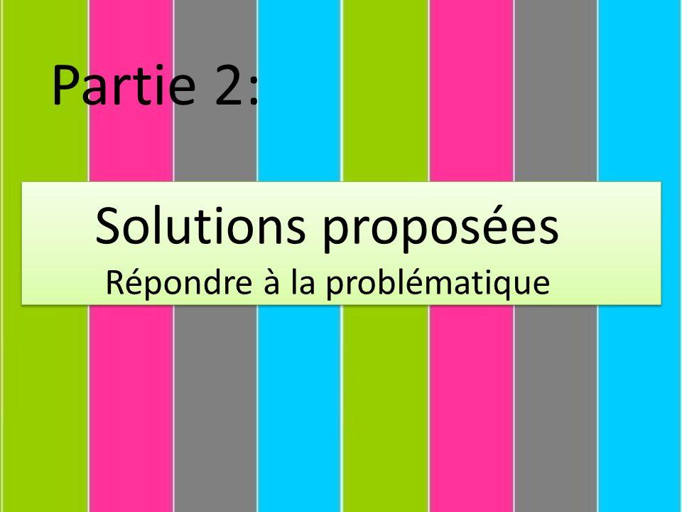 Solutions proposées Répondre à la problématique Partie 2: