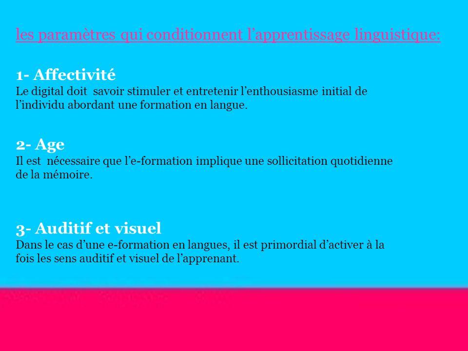les paramètres qui conditionnent lapprentissage linguistique: 1- Affectivité Le digital doit savoir stimuler et entretenir lenthousiasme initial de li