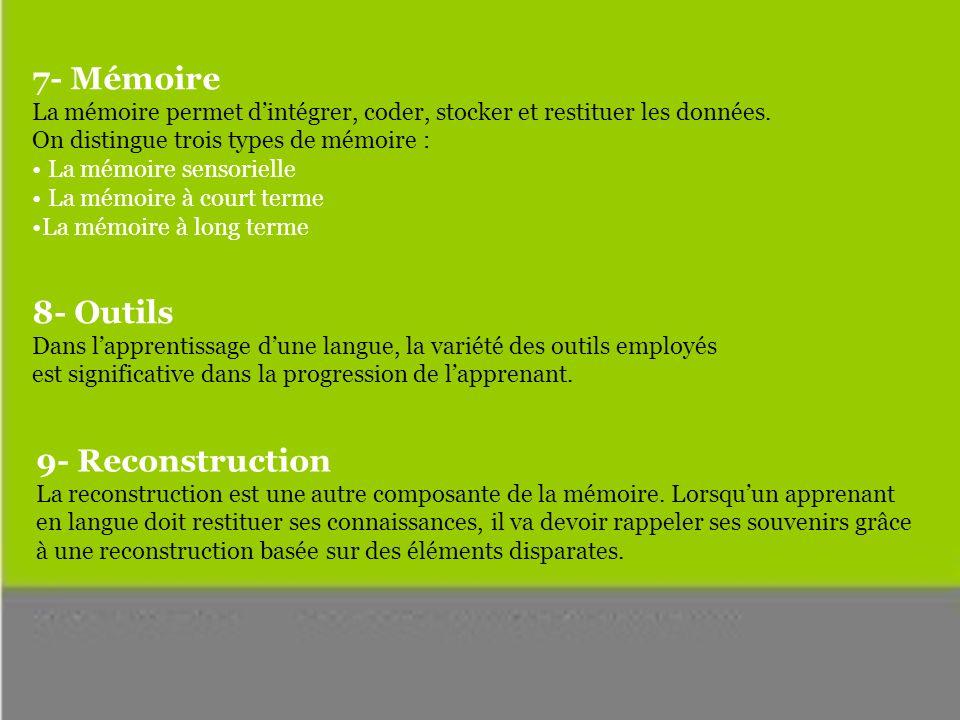 7- Mémoire La mémoire permet dintégrer, coder, stocker et restituer les données.