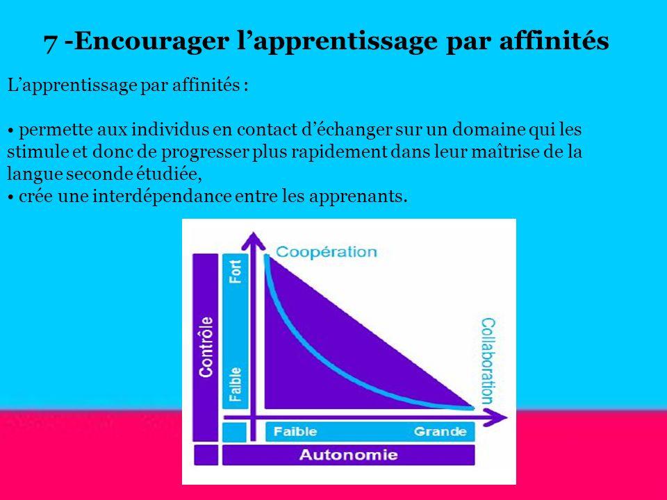 Lapprentissage par affinités : permette aux individus en contact déchanger sur un domaine qui les stimule et donc de progresser plus rapidement dans l