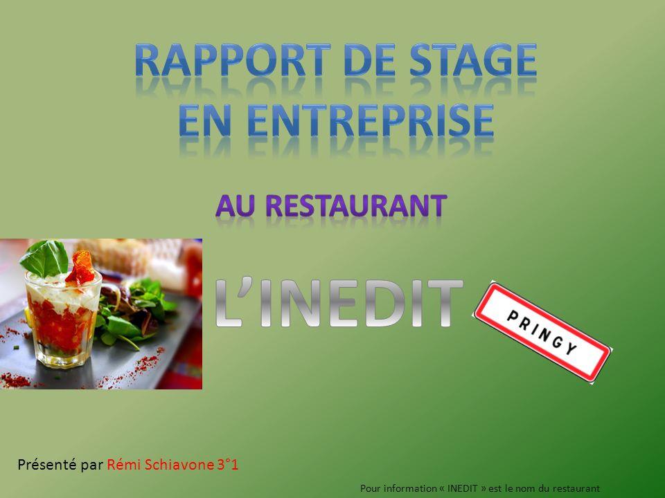 Présenté par Rémi Schiavone 3°1 Pour information « INEDIT » est le nom du restaurant