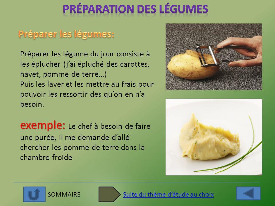 SOMMAIRESuite du thème détude au choix Préparer les légume du jour consiste à les éplucher (jai épluché des carottes, navet, pomme de terre…) Puis les