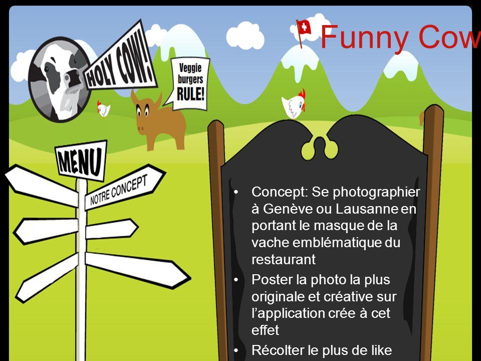 Application facebook « Funny Cow » Relais à travers: –Les restaurants (QR code et masque) –Réseaux sociaux –Site officiel –Bloggeurs –Communiqué de presse régional (Genève, Lausanne)