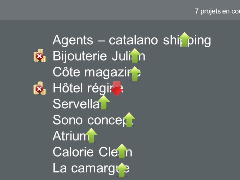 7 projets en cours Agents – catalano shipping Bijouterie Julian Côte magazine Hôtel régina Servella Sono concept Atrium Calorie Clean La camargue