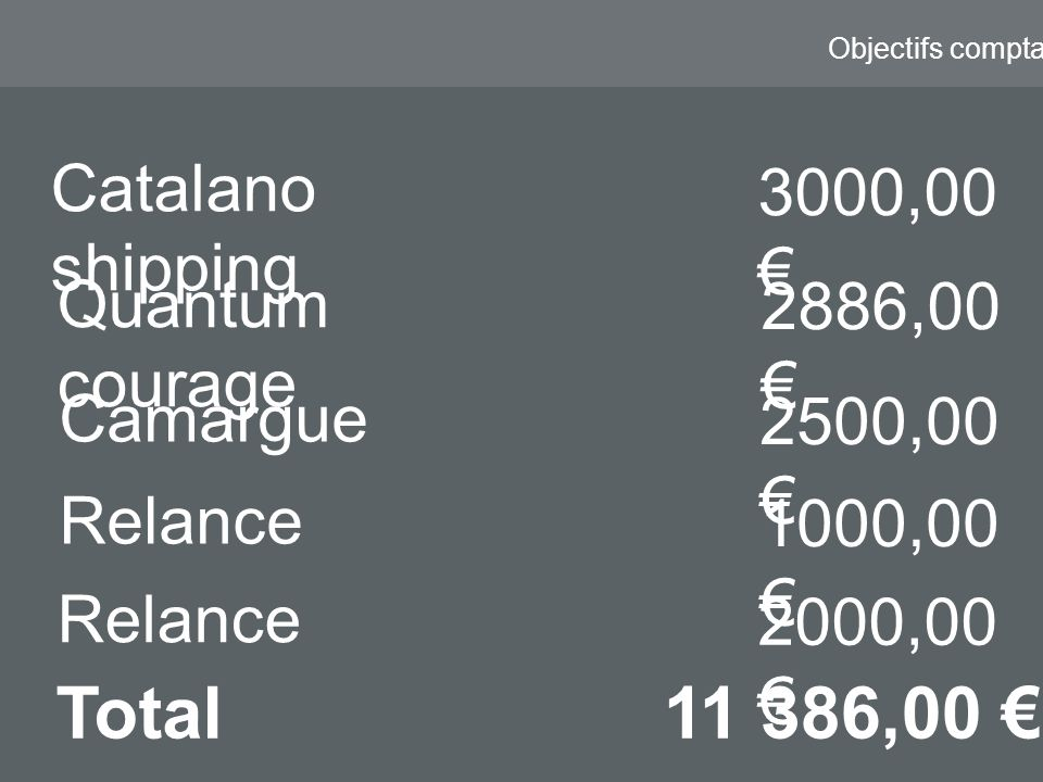 Objectifs comptable Catalano shipping 3000,00 Camargue 2500,00 Quantum courage 2886,00 Total11 386,00 Relance 1000,00 Relance 2000,00