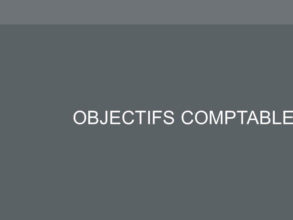 OBJECTIFS COMPTABLES