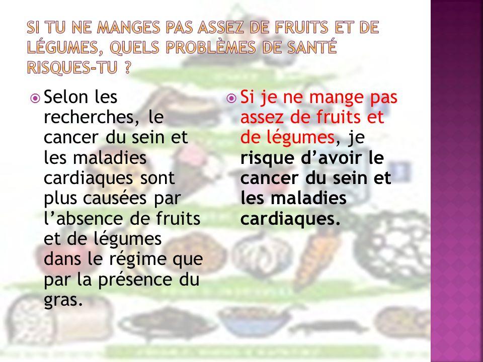 Selon les recherches, le cancer du sein et les maladies cardiaques sont plus causées par labsence de fruits et de légumes dans le régime que par la pr