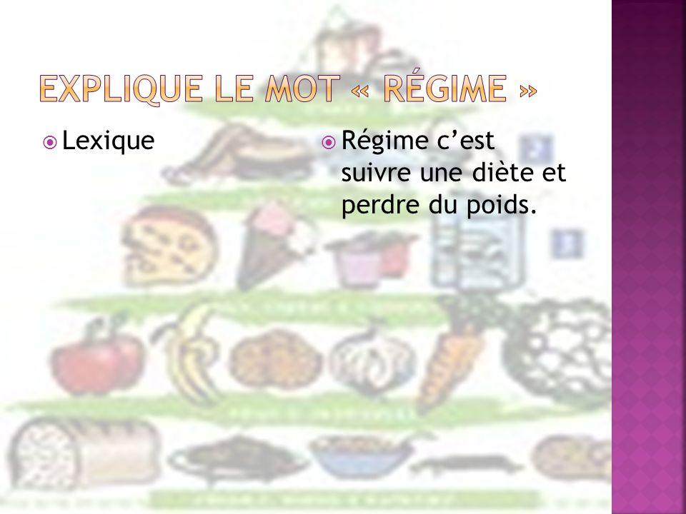 Lexique Régime cest suivre une diète et perdre du poids.