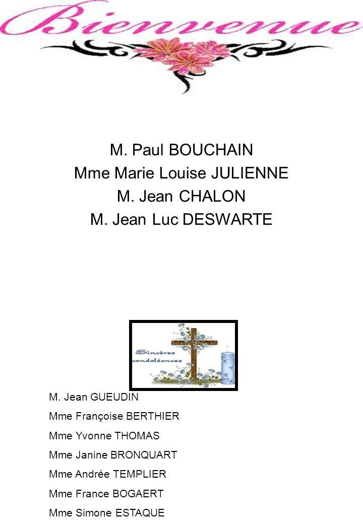 M. Paul BOUCHAIN Mme Marie Louise JULIENNE M. Jean CHALON M. Jean Luc DESWARTE M. Jean GUEUDIN Mme Françoise BERTHIER Mme Yvonne THOMAS Mme Janine BRO