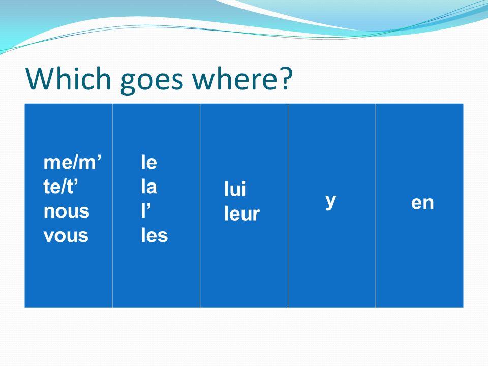 Which goes where? me/m te/t nous vous le la l les lui leur y en