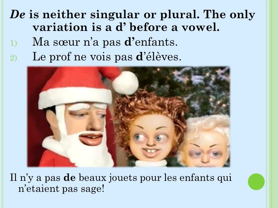 De is neither singular or plural. The only variation is a d before a vowel. 1) Ma sœur na pas d enfants. 2) Le prof ne vois pas d élèves. Il ny a pas