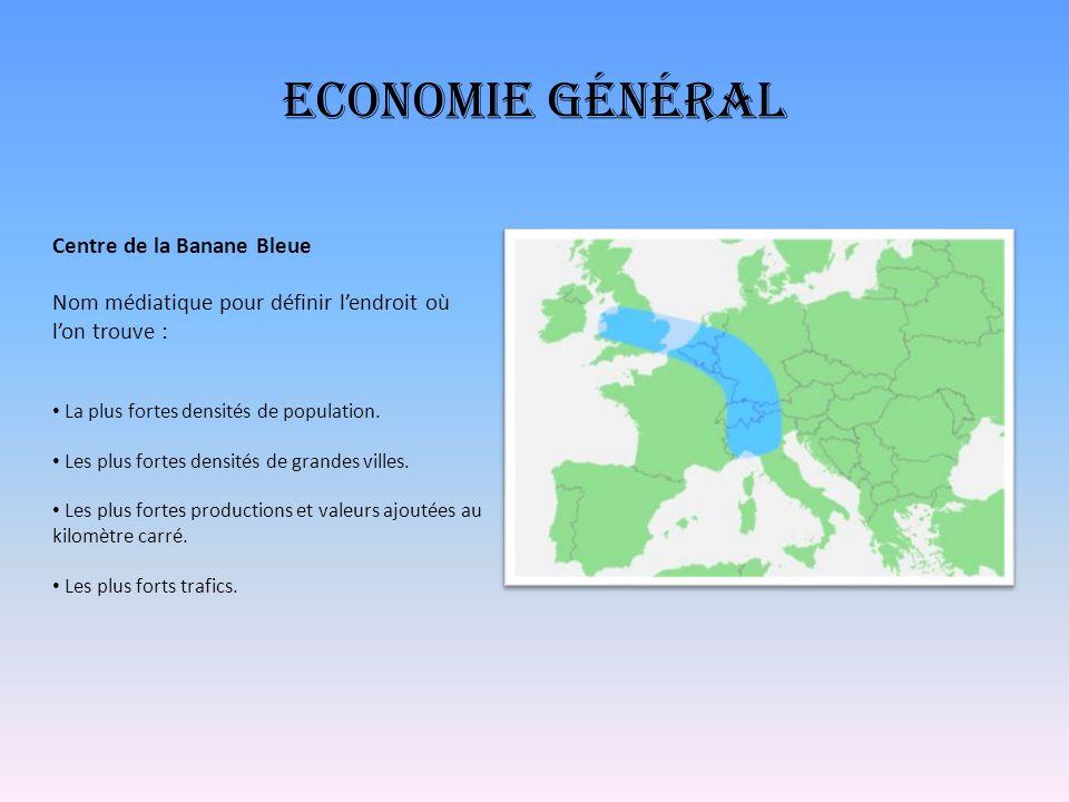 Economie général Centre de la Banane Bleue Nom médiatique pour définir lendroit où lon trouve : La plus fortes densités de population. Les plus fortes