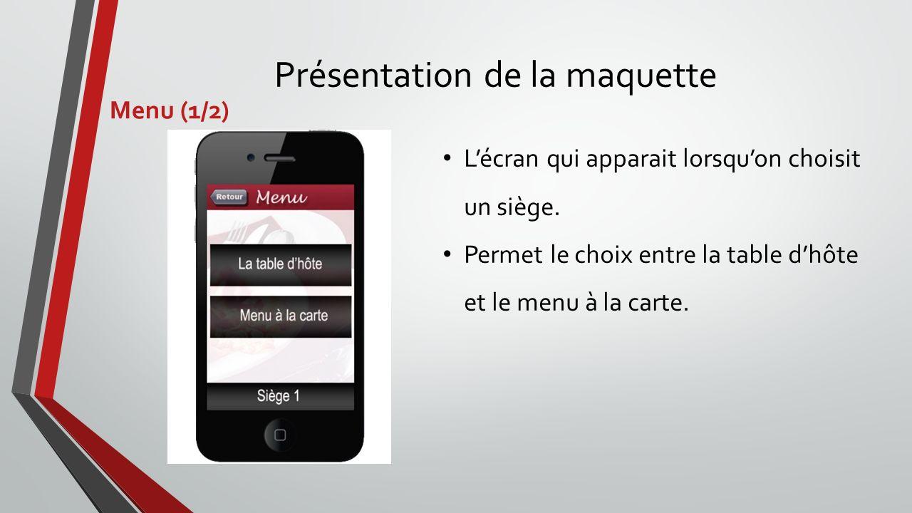 Présentation de la maquette Menu (1/2) Lécran qui apparait lorsquon choisit un siège. Permet le choix entre la table dhôte et le menu à la carte.