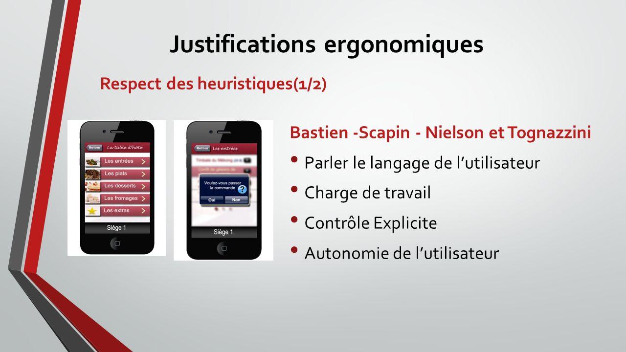Respect des heuristiques(1/2) Bastien -Scapin - Nielson et Tognazzini Parler le langage de lutilisateur Charge de travail Contrôle Explicite Autonomie