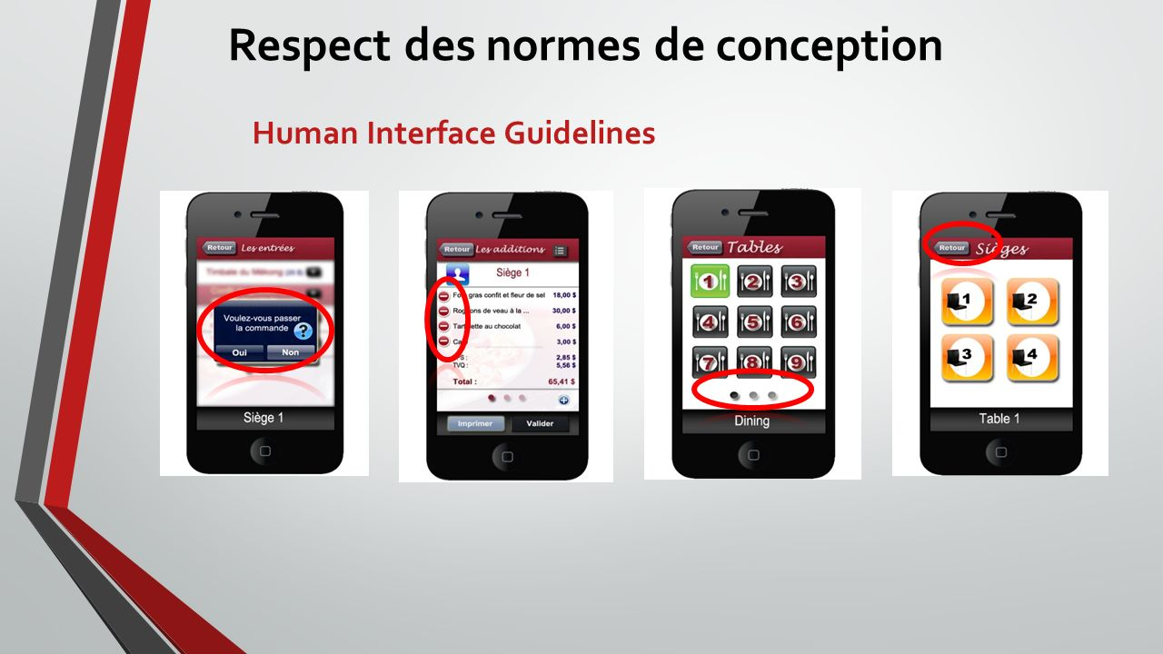 Respect des normes de conception Human Interface Guidelines