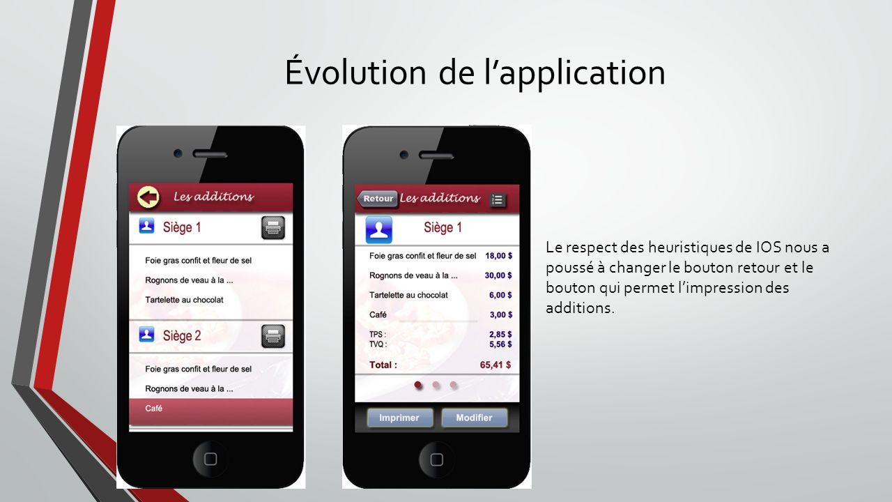 Évolution de lapplication Le respect des heuristiques de IOS nous a poussé à changer le bouton retour et le bouton qui permet limpression des addition