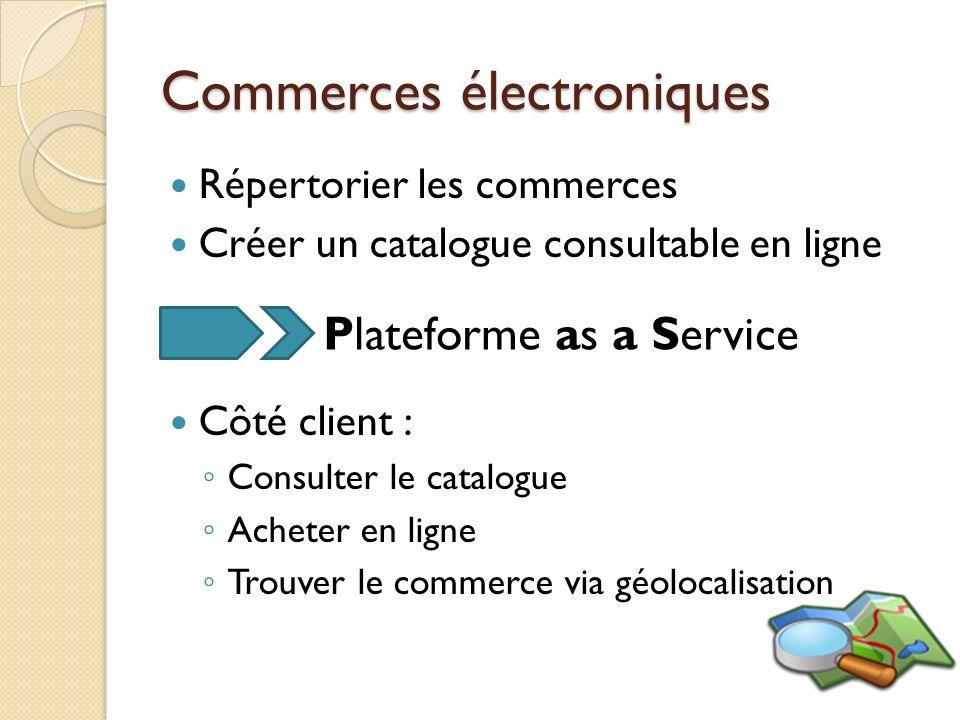 Commerces électroniques Répertorier les commerces Créer un catalogue consultable en ligne Côté client : Consulter le catalogue Acheter en ligne Trouve
