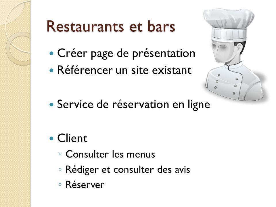 Restaurants et bars Créer page de présentation Référencer un site existant Service de réservation en ligne Client Consulter les menus Rédiger et consu