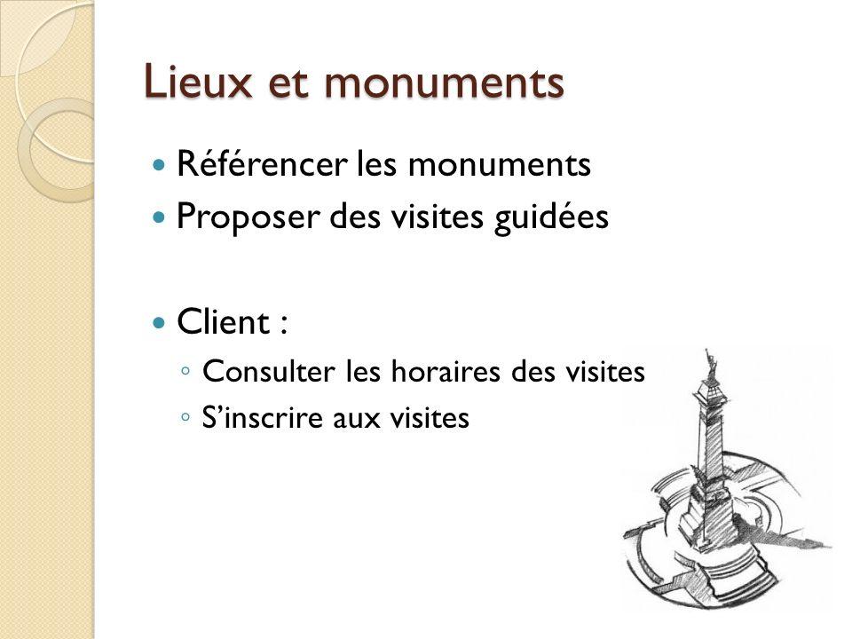 Lieux et monuments Référencer les monuments Proposer des visites guidées Client : Consulter les horaires des visites Sinscrire aux visites