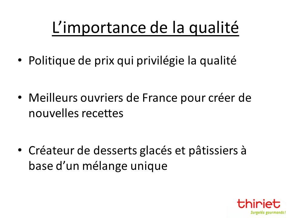 Limportance de la qualité Politique de prix qui privilégie la qualité Meilleurs ouvriers de France pour créer de nouvelles recettes Créateur de desser