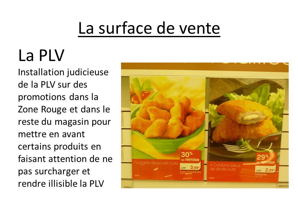 La surface de vente La PLV Installation judicieuse de la PLV sur des promotions dans la Zone Rouge et dans le reste du magasin pour mettre en avant ce