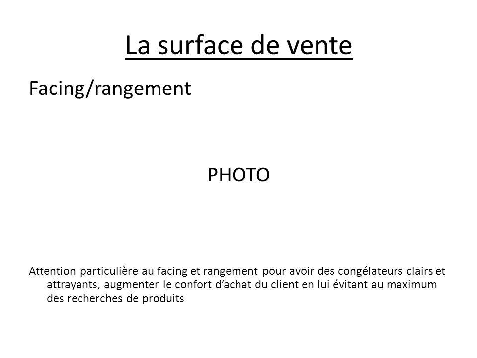 La surface de vente Facing/rangement PHOTO Attention particulière au facing et rangement pour avoir des congélateurs clairs et attrayants, augmenter l
