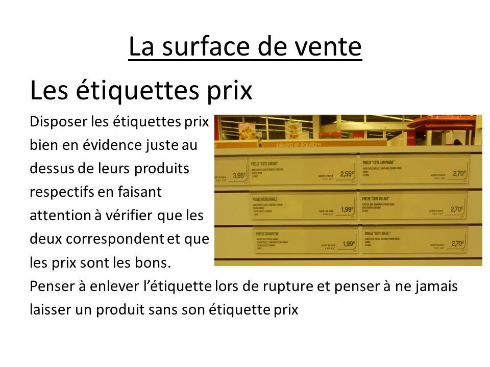 La surface de vente Les étiquettes prix Disposer les étiquettes prix bien en évidence juste au dessus de leurs produits respectifs en faisant attentio