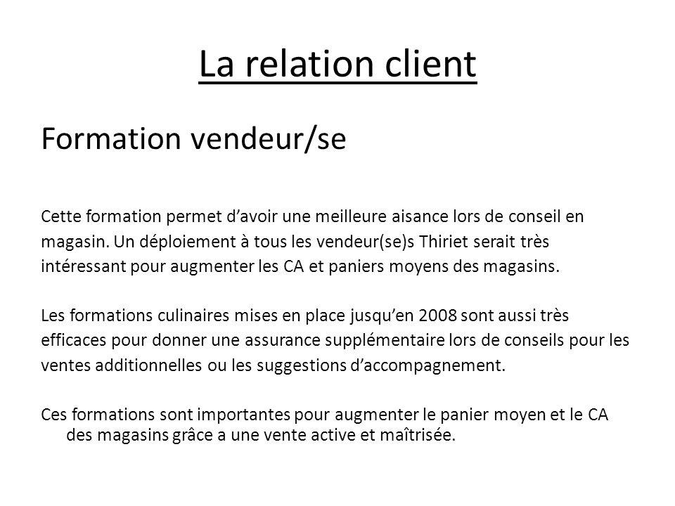 La relation client Formation vendeur/se Cette formation permet davoir une meilleure aisance lors de conseil en magasin. Un déploiement à tous les vend