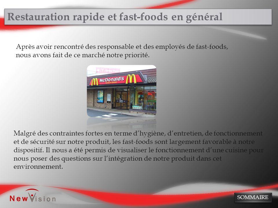 Restauration rapide et fast-foods en général Après avoir rencontré des responsable et des employés de fast-foods, nous avons fait de ce marché notre p