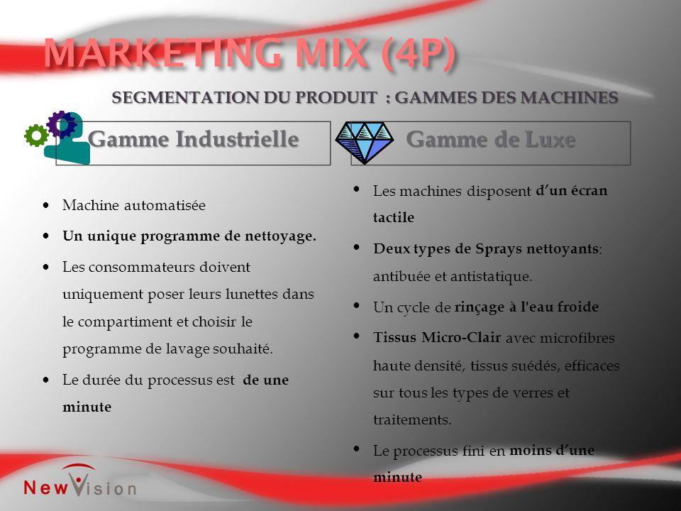 Gamme Industrielle Gamme de Luxe SEGMENTATION DU PRODUIT : GAMMES DES MACHINES Machine automatisée Un unique programme de nettoyage. Les consommateurs