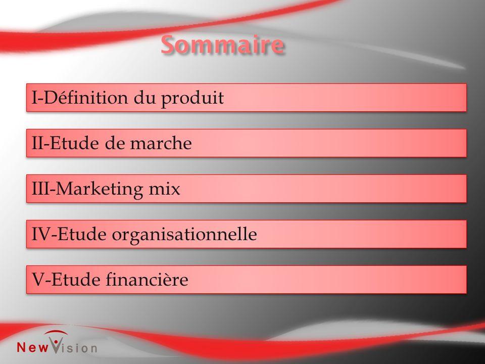 I-Définition du produit II-Etude de marche III-Marketing mix IV-Etude organisationnelle V-Etude financière