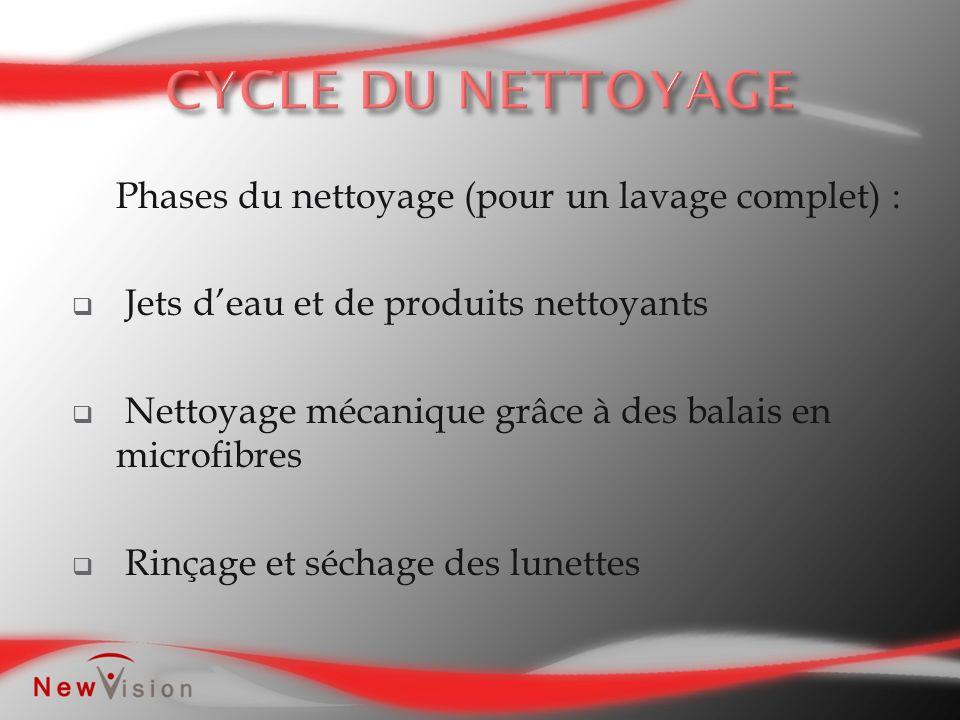 Phases du nettoyage (pour un lavage complet) : Jets deau et de produits nettoyants Nettoyage mécanique grâce à des balais en microfibres Rinçage et sé