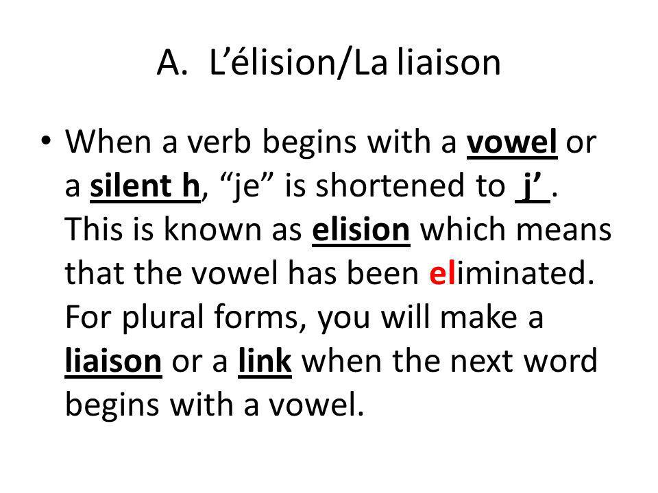 A.Lélision/La liaison When a verb begins with a vowel or a silent h, je is shortened to j.